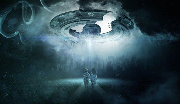 Ufo, Children, Alien, Sky, Evening
