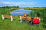 bicycle, bench, waterway