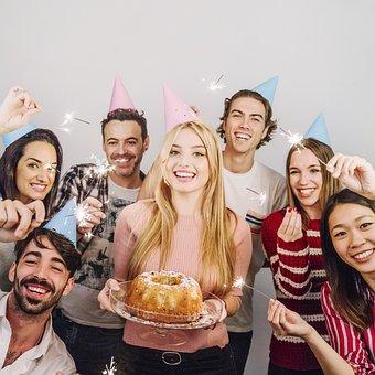 誕生日, 会社, キャンドル, 笑顔, 友人同士