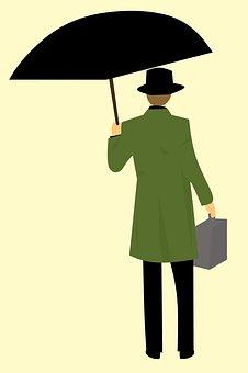 Man Return, Coat, Holding Umbrella