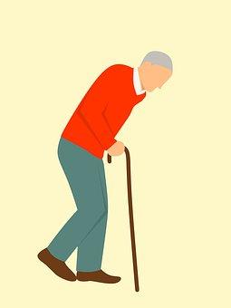 古い, 徒歩, スティック, 疲れて, 痛み, 背中の痛み, 問題, けいれん