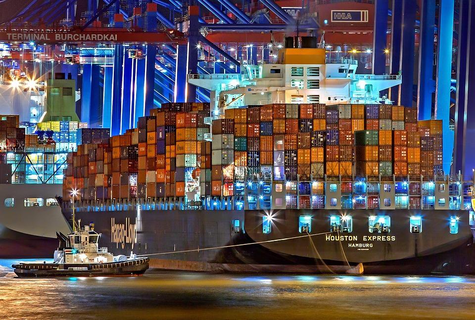Hamburg, Hamburger Hafen, Container Frachter
