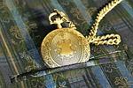 pocket watch, golden, ornament