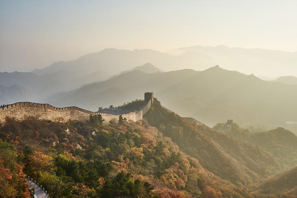 Große Mauer, Berg, Sonnenuntergang, Landschaft