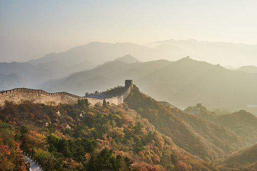Great Wall, Mountain, Sunset, Landscape