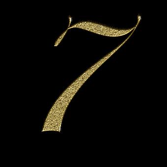 番号, 7, 金, フォント, トレーニング, 学ぶ, 黄金の, 光沢
