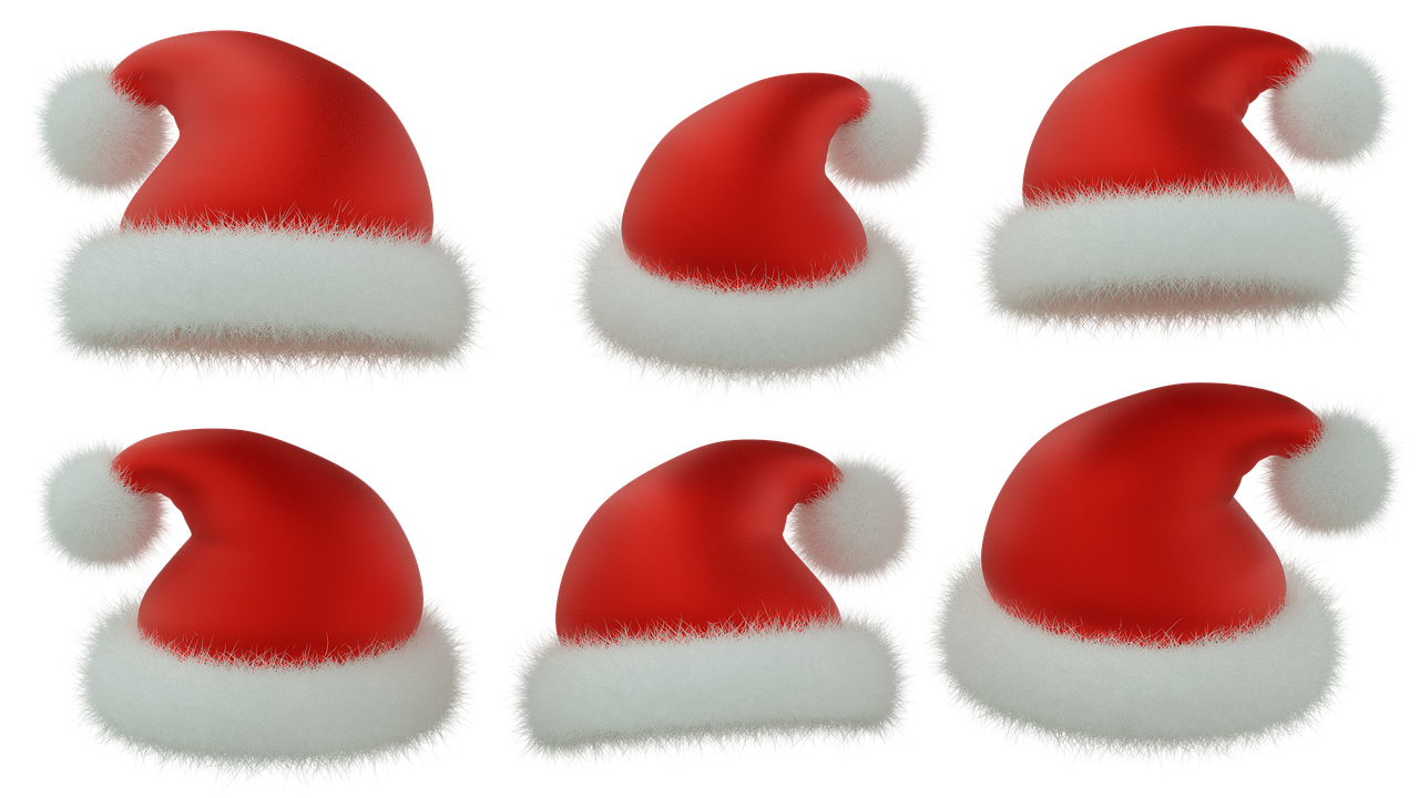 Santa Claus Hat, Julen, Red Hat, Isolerede, 3D, Blender