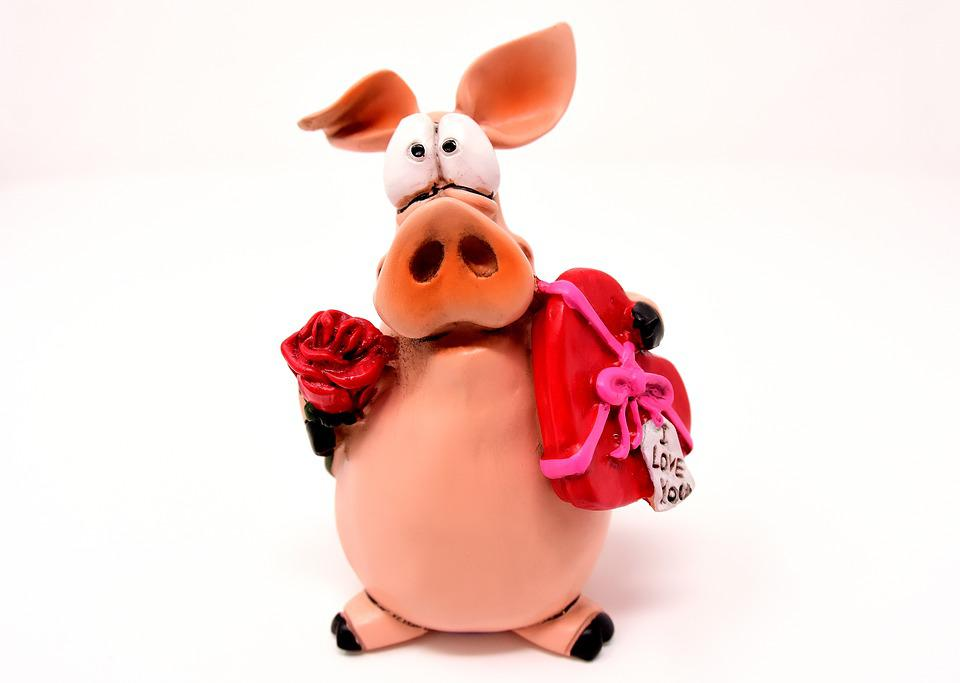 Piglet Figure Lucky Pig Love ValentineS Day Heart