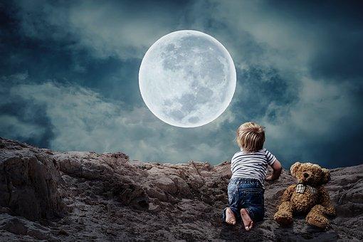 おやすみなさい, 小さな子供, 小さな男の子, テディー ・ ベア, ムーン
