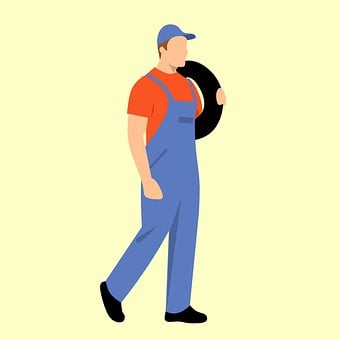 Mechanic, Carrying A Tire, Isolated, Man