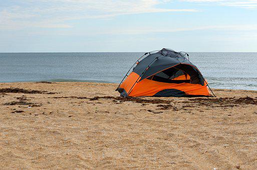 Tent Camping, Beach, Leisure, Ocean