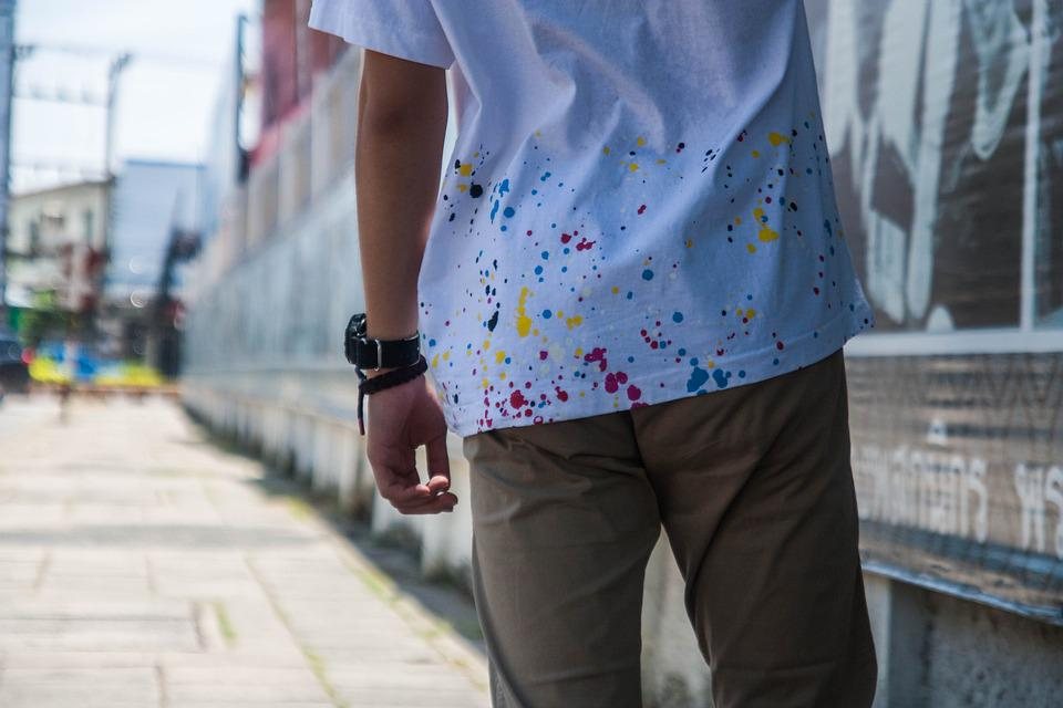 Person, Tee, Shirt, White, Colorful, Watch, Street