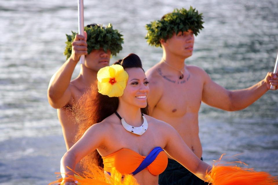 ハワイ, フラ, 女の子, ダンサー, 島, アロハ, ルアウ, 伝統的な, レイ, ポリネシア, 女性