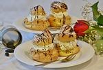 cake, dessert, cream puff