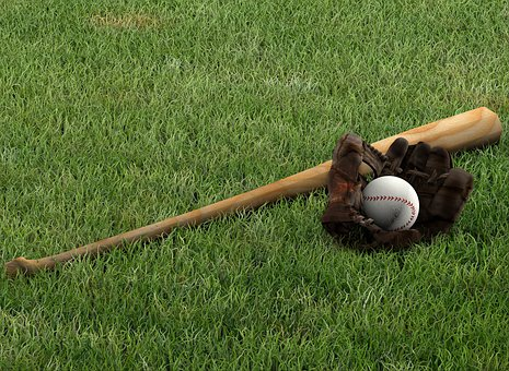 棒球, 手套, 蝙蝠, 高峰, 体育, 背景, 草, 草地