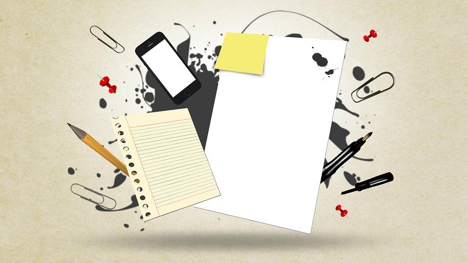 学校用品, 文房具, ノート, 要約, 事務処理, ドキュメント, 報告書, オフィス, メモ帳