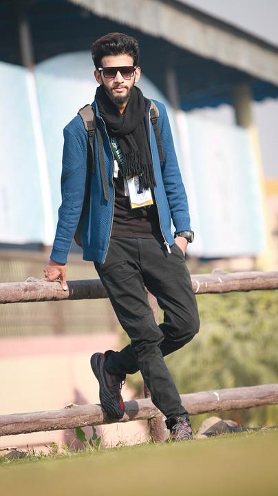 Man Outdoors Stylish Boy Fashion