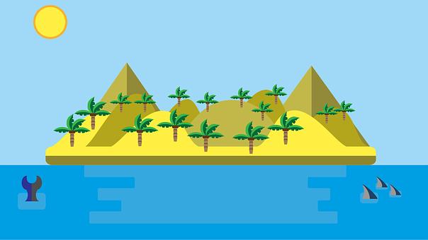 Island, Desert, Deserted Island, Egypt