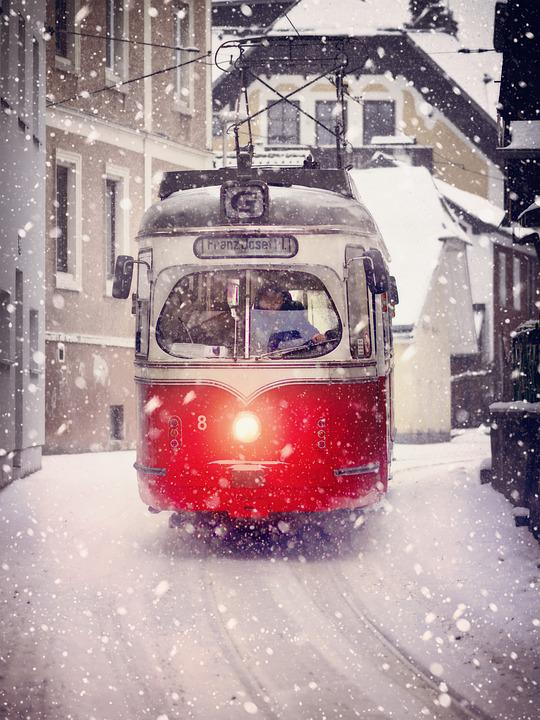 Road, Tram, Transport System, City, Winter, Vehicle