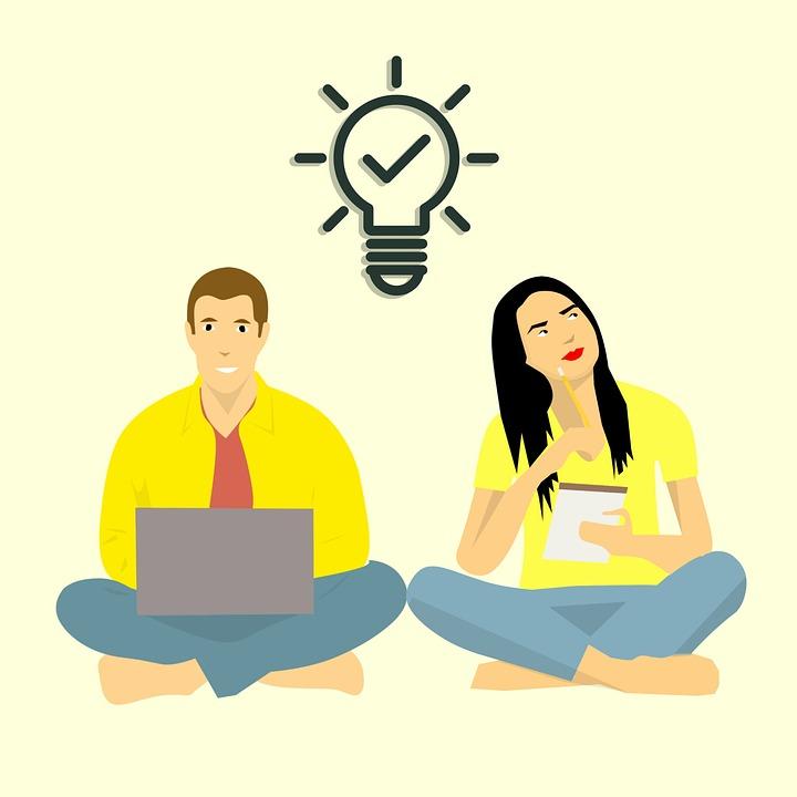 Brainstorming, Denken, Man En Vrouw, Teamwork, Samen