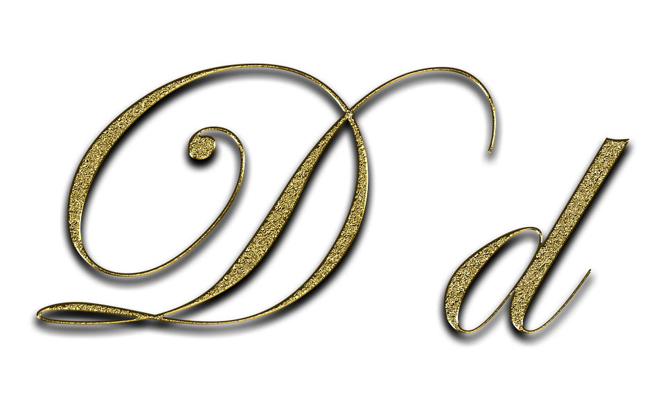 Letter D Gold Font Write Type Fonts