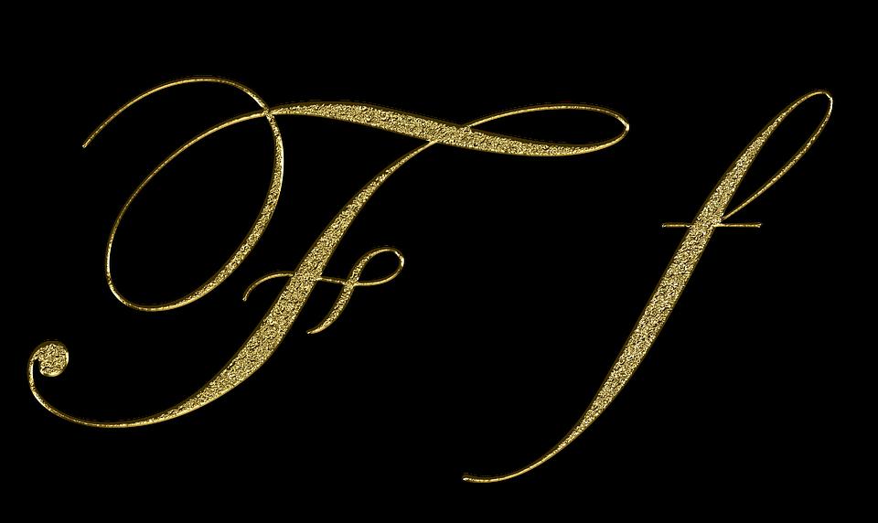 手紙, F, 金, フォント, F字, 書きます, タイプ, スタイル, レタリング, トレーニング