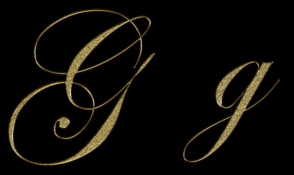 letter g gold font letter g write