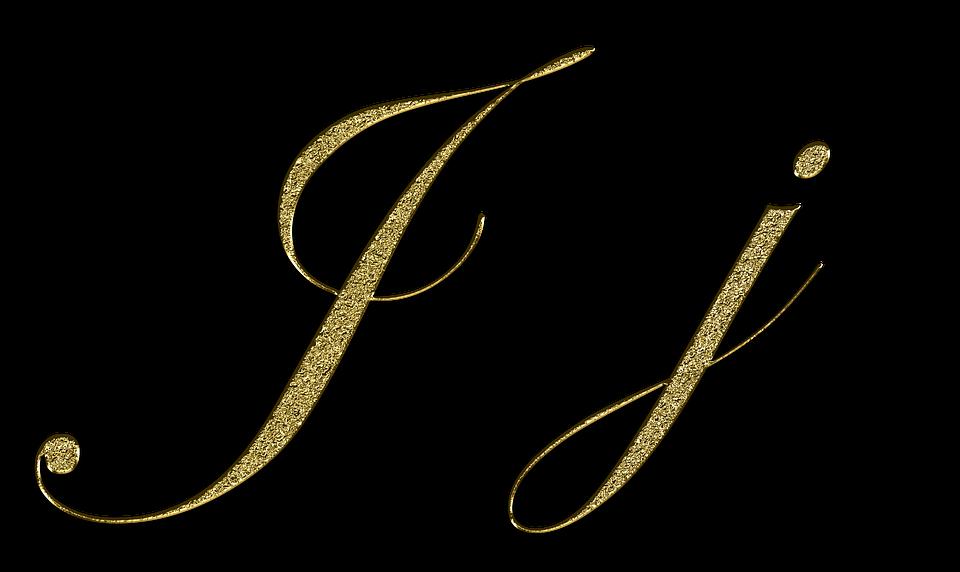 Letter J Gold Font Letter J Leave Type Fonts
