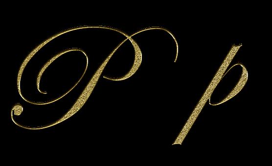 Letter P Gold Font Letter P Write