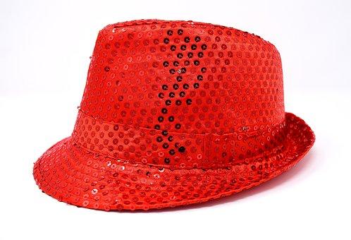 Hat, Sequins, Headwear, Woman, Red, Blue