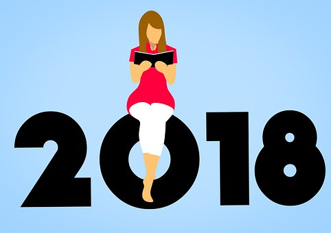 new year 2018 reading woman learning