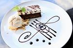 brownie, chocolate cake, ice cream