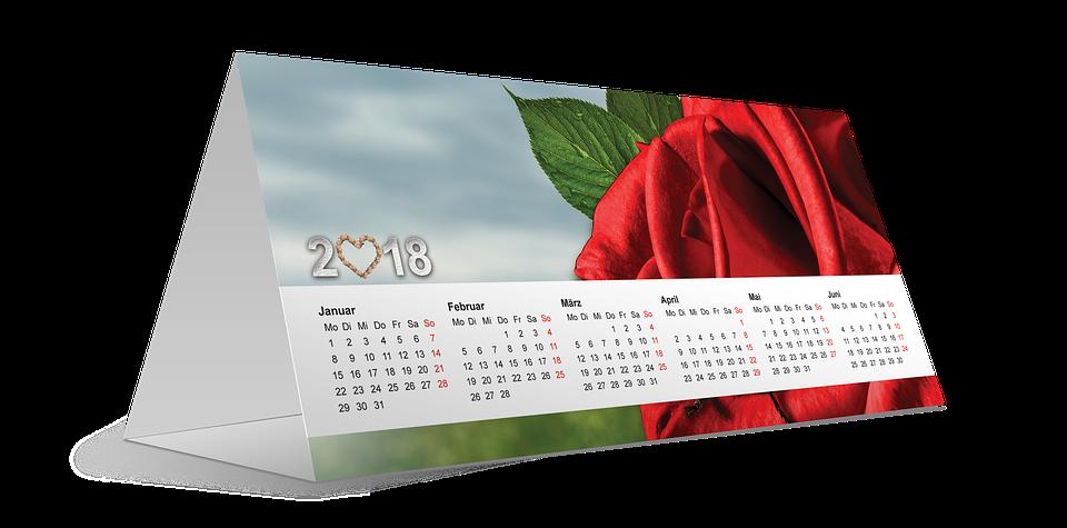 Calendario Rosa Png.Calendario 2018 Capodanno Foto Gratis Su Pixabay