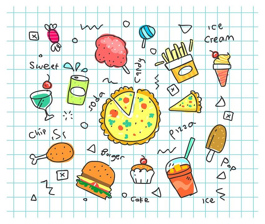カラフルな筐体, ソーダ, 漫画, 設定, フライド ポテト, 高速, 食べる, 不健康です, ポップ