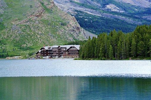 多くの氷河ホテル, スウィフトカレント湖, 湖, 氷河国立公園, 旅行, 風景