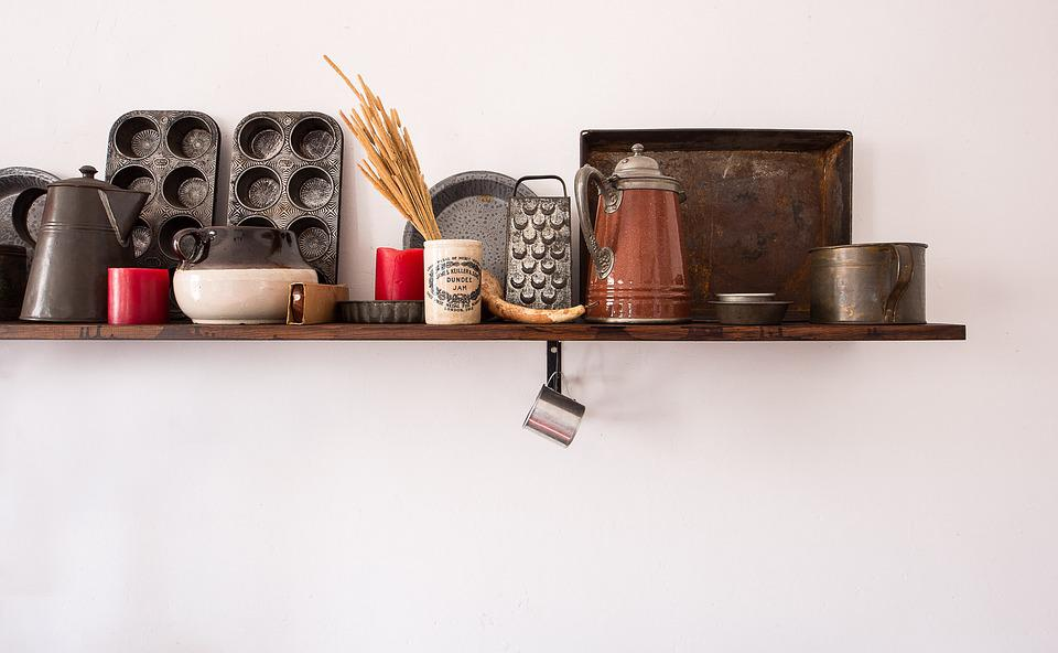 Shelf, Kitchen, Antique, Cooking, Interior, Kitchenware