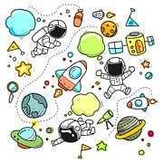 Sketch, Cartoon, Space, Set