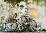 rower, dzieci, graffiti