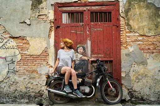 Motorcycles, Woman, Graffiti, Art