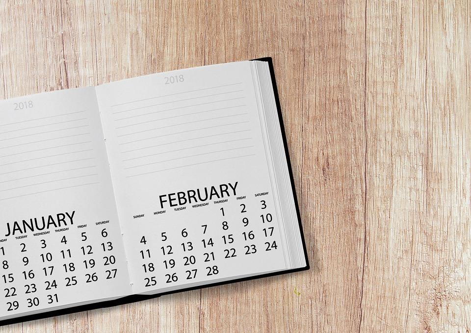 カレンダー、ブック、2018、日付、年、日、週