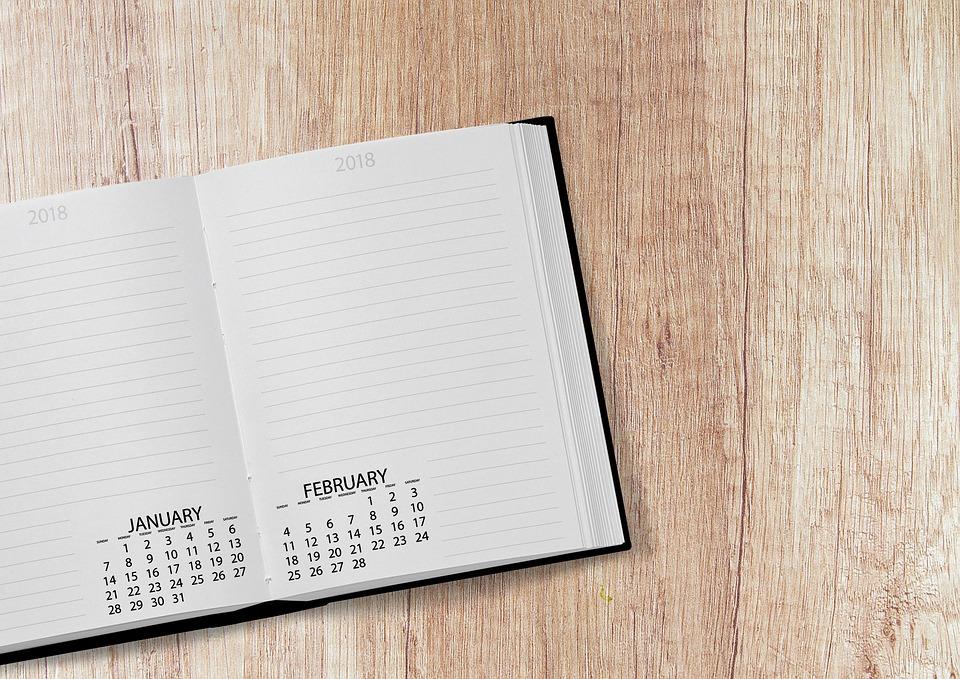 カレンダー, 本, 2018, 日付, 年, 日, 週, 曜日ごとの, デスク, 議題, テーブル, メモ