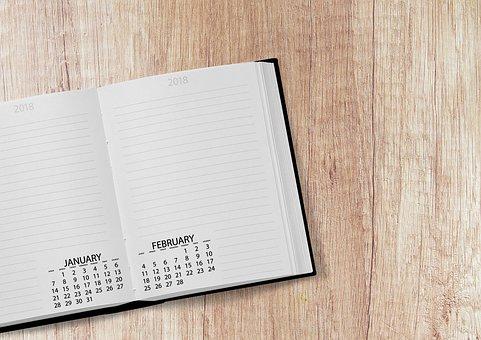 カレンダー, 本, 2018, 日付, 年, 日, 週, 曜日ごとの, デスク