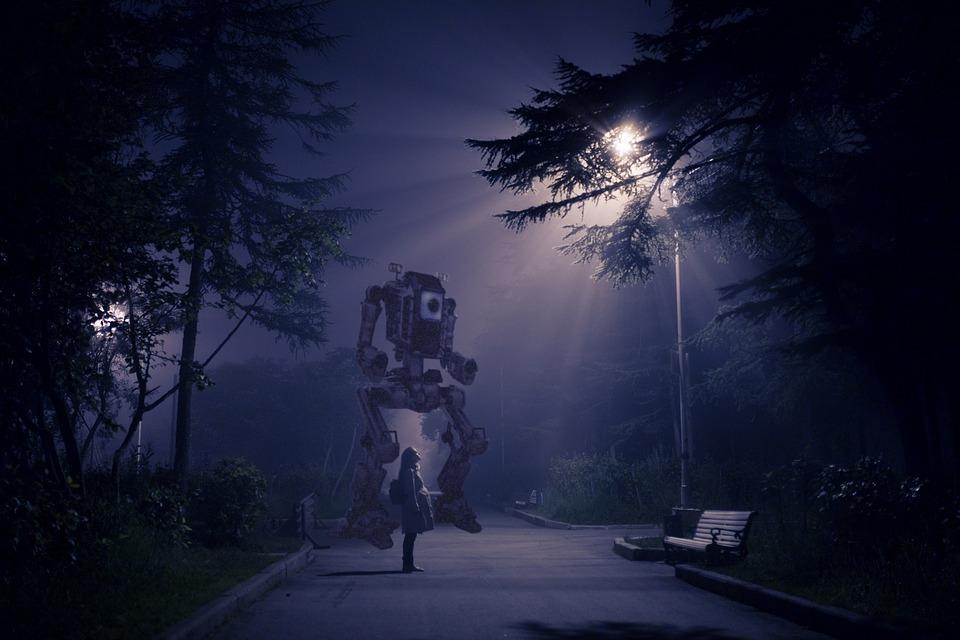 Dark Nature Light Tree Panoramic Cyberpunk Sci Fi