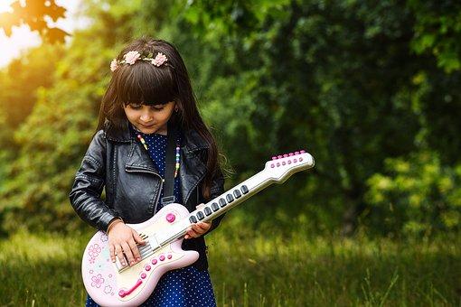 幸せ, 楽しい, 子供, ミュージシャン, 電気, にこやか, サウンド