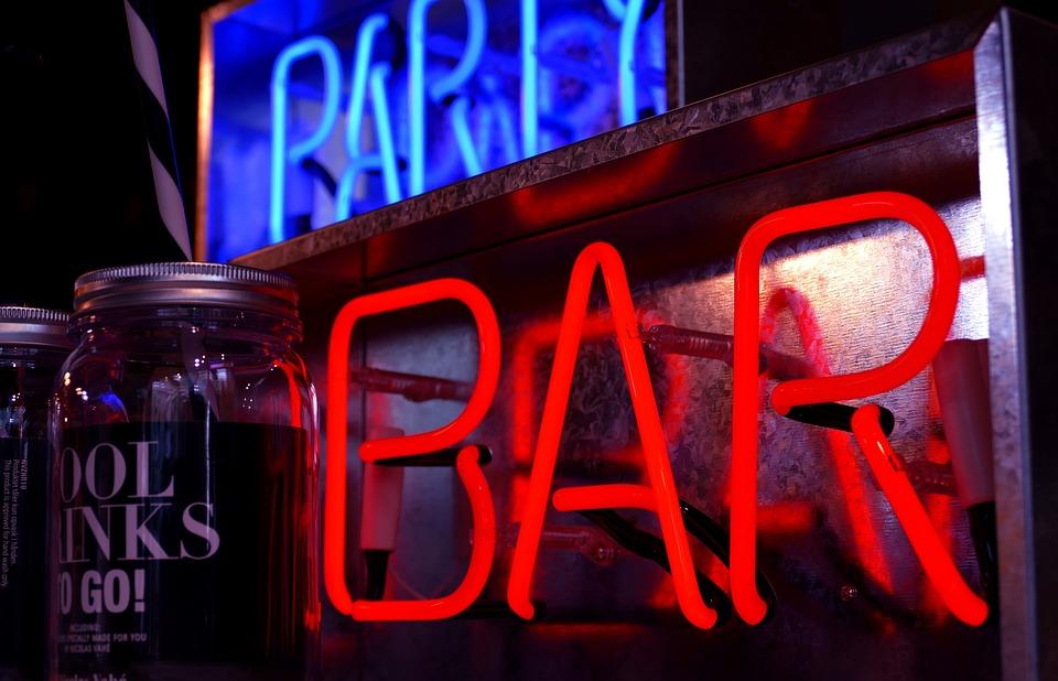 Bar, Strona, Znaków, Świętują, Butelek, Alkoholu, Pić