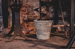 bucket, old, stainless