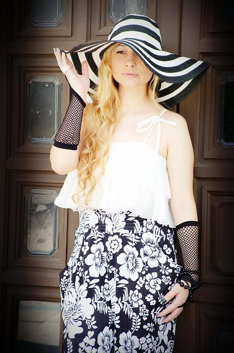 素敵な, ファッション, 女性, 女の子, 若い, 帽子, 慌てて準備して出発, 優雅, Bw