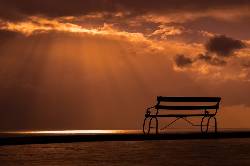 Bench, Sunset, Dusk, Clouds, Sky, Sunlight, Sunbeam