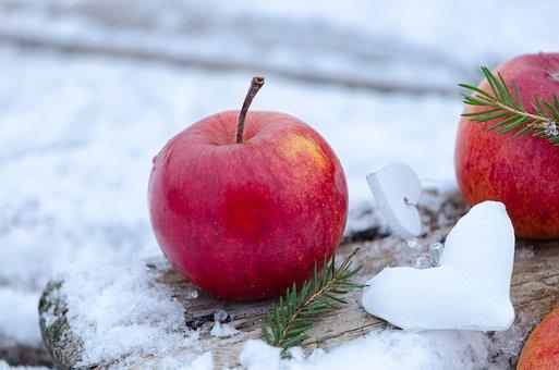 アップル, 赤いリンゴ, フルーツ, おいしい, 健康, 食べ物, 冬, 雪