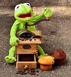grinder, coffee beans, muffins